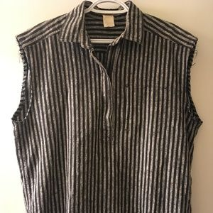 Issey Miyake Grey and Black Striped Box Top Sz S